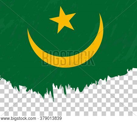 Grunge-style Flag Of Mauritania On A Transparent Background. Vector Textured Flag Of Mauritania For