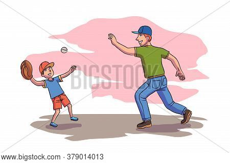 Cheerful Father Playing Baseball With Son In City Park Outdoor.vector Happy Parenthood And Childhood