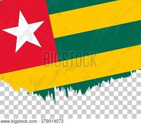 Grunge-style Flag Of Togo On A Transparent Background. Vector Textured Flag Of Togo For Vertical Des