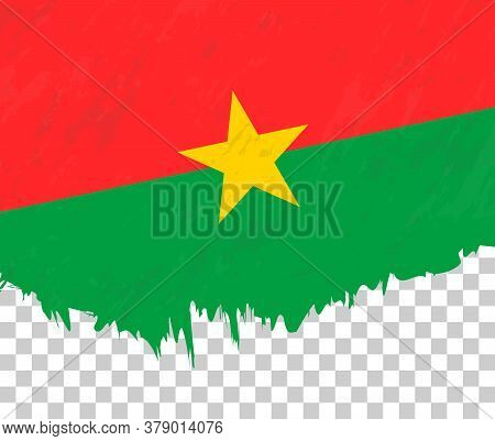 Grunge-style Flag Of Burkina Faso On A Transparent Background. Vector Textured Flag Of Burkina Faso