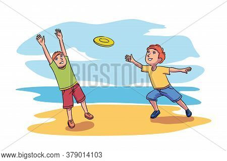 Vector Characters Illustration Of Kids Playing Toy. Smiling Boy Throws Flying Disc And His Friend Or