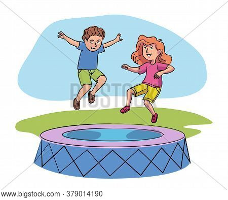 Cheerful Boy And Girl Having Fun Jumping High On Trampoline. Happy Children And Childhood. Active Re