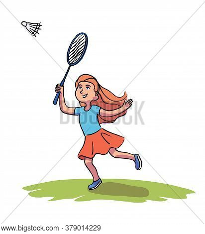Cute Smiling Little Girl Character Beating Shuttlecock With Racket. Child Playing Badminton On Green