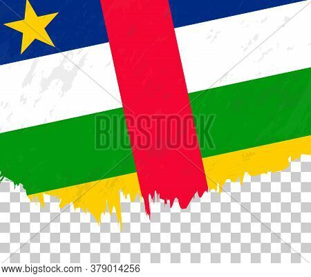Grunge-style Flag Of Central African Republic On A Transparent Background. Vector Textured Flag Of C