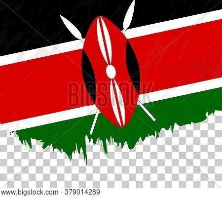 Grunge-style Flag Of Kenya On A Transparent Background. Vector Textured Flag Of Kenya For Vertical D