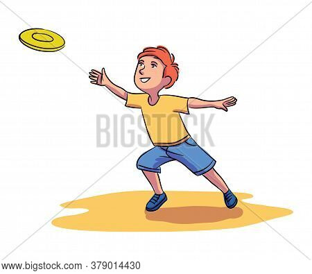 Little Smiling Boy Child Throwing Plastic Plate To Invisible Opponent Player. Happy Childhood And Su
