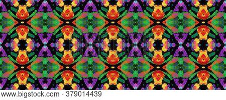 Watercolor Ethnic Design. Paintbrush Native Background. Ikat Geometric Swimwear Pattern. Red, Green,