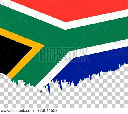 Grunge-style Flag Of South Africa On A Transparent Background. Vector Textured Flag Of South Africa
