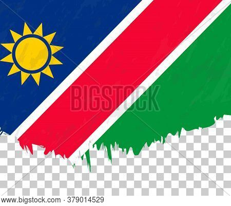 Grunge-style Flag Of Namibia On A Transparent Background. Vector Textured Flag Of Namibia For Vertic