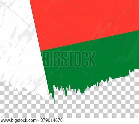 Grunge-style Flag Of Madagascar On A Transparent Background. Vector Textured Flag Of Madagascar For