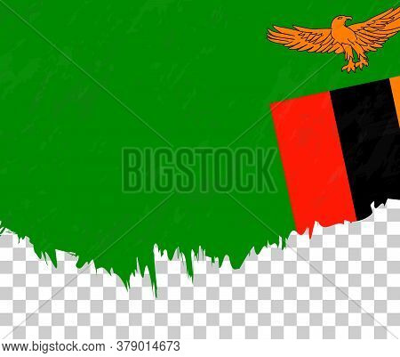 Grunge-style Flag Of Zambia On A Transparent Background. Vector Textured Flag Of Zambia For Vertical