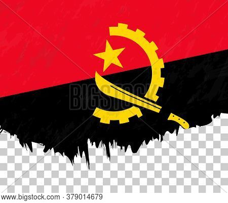 Grunge-style Flag Of Angola On A Transparent Background. Vector Textured Flag Of Angola For Vertical