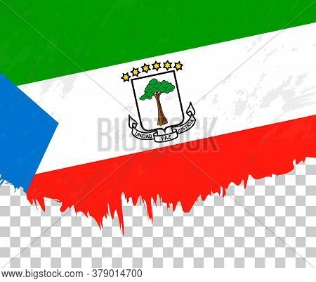 Grunge-style Flag Of Equatorial Guinea On A Transparent Background. Vector Textured Flag Of Equatori