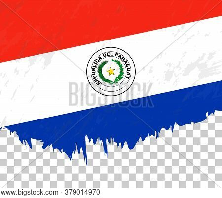 Grunge-style Flag Of Paraguay On A Transparent Background. Vector Textured Flag Of Paraguay For Vert