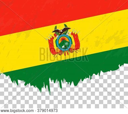 Grunge-style Flag Of Bolivia On A Transparent Background. Vector Textured Flag Of Bolivia For Vertic