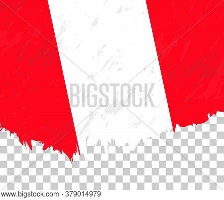 Grunge-style Flag Of Peru On A Transparent Background. Vector Textured Flag Of Peru For Vertical Des