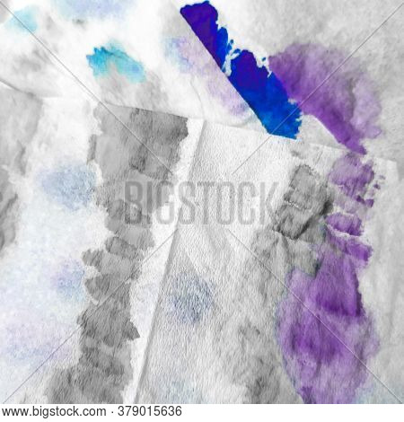 Blue Tye Dye Monochrome Pattern. Vintage Grunge Purple Paint. Indigo Grunge Pattern. Old Winter Text