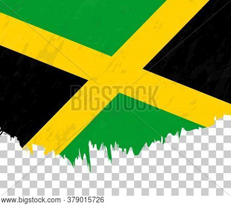 Grunge-style Flag Of Jamaica On A Transparent Background. Vector Textured Flag Of Jamaica For Vertic