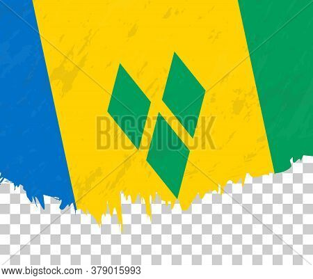 Grunge-style Flag Of Saint Vincent And The Grenadines On A Transparent Background. Vector Textured F