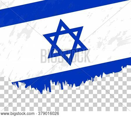 Grunge-style Flag Of Israel On A Transparent Background. Vector Textured Flag Of Israel For Vertical