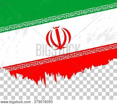 Grunge-style Flag Of Iran On A Transparent Background. Vector Textured Flag Of Iran For Vertical Des