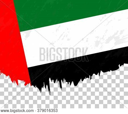 Grunge-style Flag Of United Arab Emirates On A Transparent Background. Vector Textured Flag Of Unite