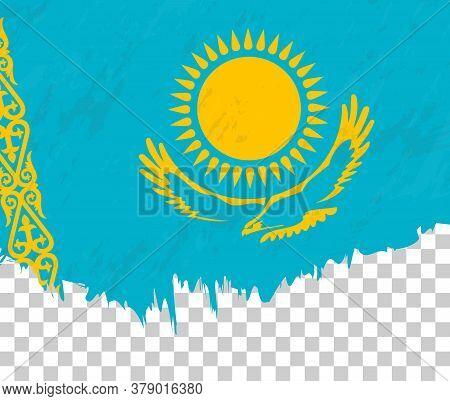 Grunge-style Flag Of Kazakhstan On A Transparent Background. Vector Textured Flag Of Kazakhstan For