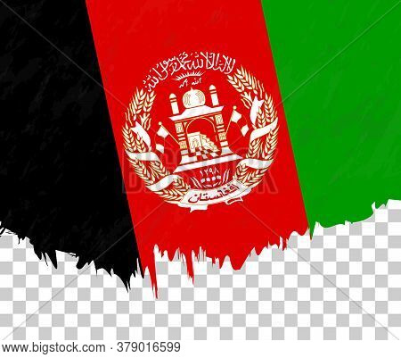 Grunge-style Flag Of Afghanistan On A Transparent Background. Vector Textured Flag Of Afghanistan Fo