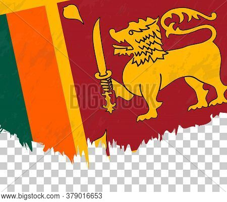 Grunge-style Flag Of Sri Lanka On A Transparent Background. Vector Textured Flag Of Sri Lanka For Ve