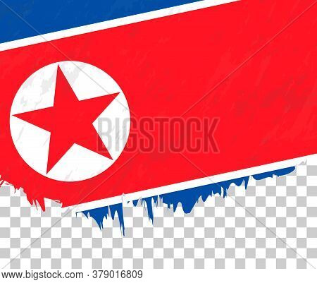 Grunge-style Flag Of North Korea On A Transparent Background. Vector Textured Flag Of North Korea Fo
