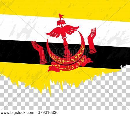 Grunge-style Flag Of Brunei On A Transparent Background. Vector Textured Flag Of Brunei For Vertical