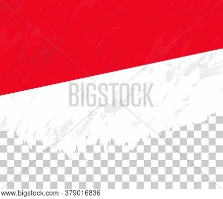 Grunge-style Flag Of Indonesia On A Transparent Background. Vector Textured Flag Of Indonesia For Ve