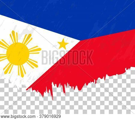 Grunge-style Flag Of Philippines On A Transparent Background. Vector Textured Flag Of Philippines Fo