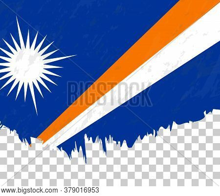 Grunge-style Flag Of Marshall Islands On A Transparent Background. Vector Textured Flag Of Marshall