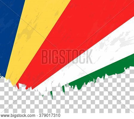 Grunge-style Flag Of Seychelles On A Transparent Background. Vector Textured Flag Of Seychelles For