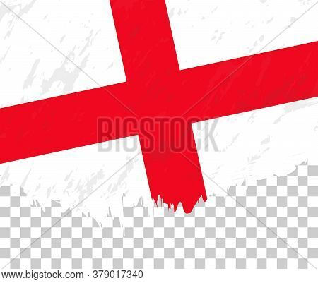 Grunge-style Flag Of England On A Transparent Background. Vector Textured Flag Of England For Vertic