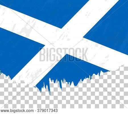 Grunge-style Flag Of Scotland On A Transparent Background. Vector Textured Flag Of Scotland For Vert