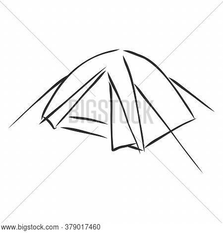 Hand-drawn Tourist Tent. Sketch Tents In Pencil. An Open Tent And Entrance Tied To A Stick. Vector E