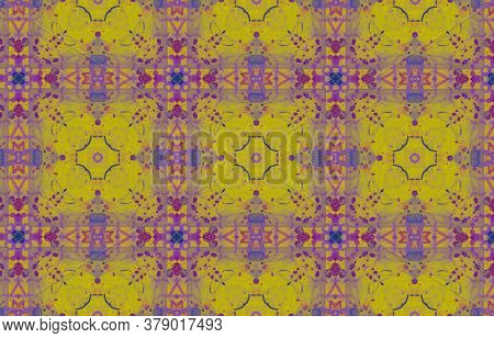 Portuguese Decorative Tiles. Violet Autumn Square Ornament. Portuguese Decorative Tiles Background.
