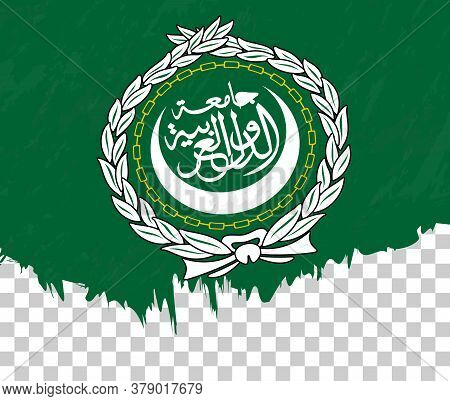 Grunge-style Flag Of Arab League On A Transparent Background. Vector Textured Flag Of Arab League Fo