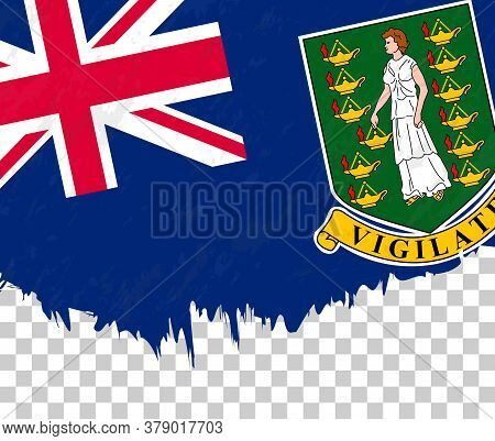 Grunge-style Flag Of British Virgin Islands On A Transparent Background. Vector Textured Flag Of Bri