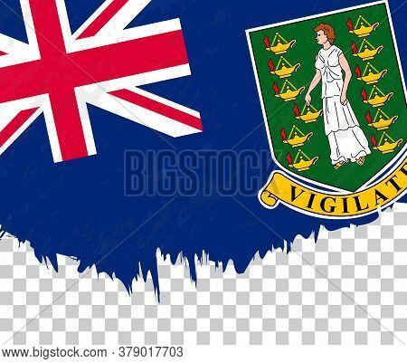 Grunge-style Flag Of British Virgin Islands On A Transparent Background. Vector Textured Flag Of Bri