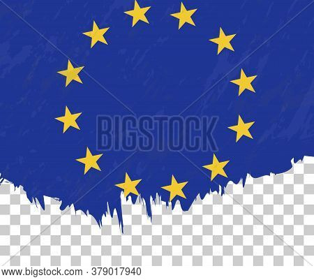 Grunge-style Flag Of European Union On A Transparent Background. Vector Textured Flag Of European Un