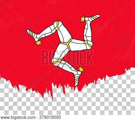 Grunge-style Flag Of Isle Of Man On A Transparent Background. Vector Textured Flag Of Isle Of Man Fo