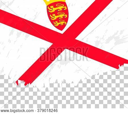 Grunge-style Flag Of Jersey On A Transparent Background. Vector Textured Flag Of Jersey For Vertical