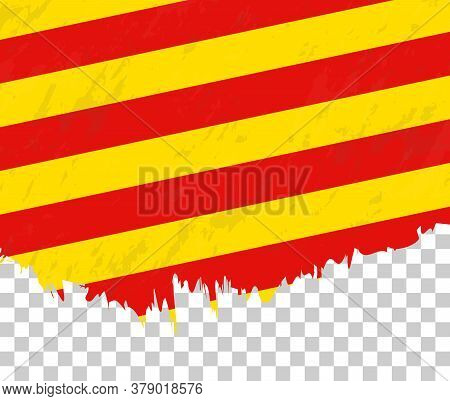 Grunge-style Flag Of Catalonia On A Transparent Background. Vector Textured Flag Of Catalonia For Ve