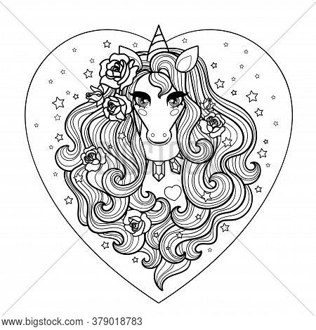 Unicorn Head With Long Mane And Roses. Vector Illustration