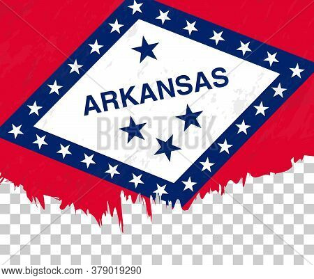 Grunge-style Flag Of Arkansas On A Transparent Background. Vector Textured Flag Of Arkansas For Vert