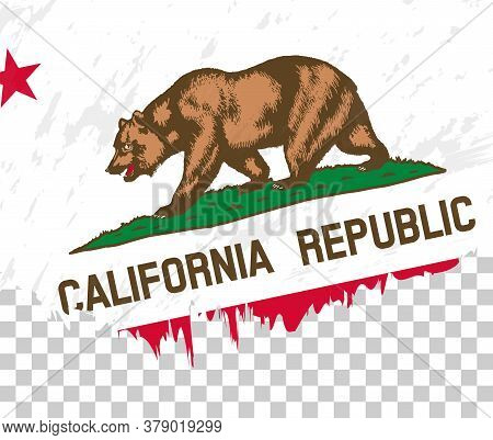 Grunge-style Flag Of California On A Transparent Background. Vector Textured Flag Of California For