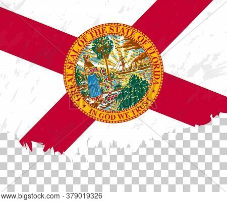 Grunge-style Flag Of Florida On A Transparent Background. Vector Textured Flag Of Florida For Vertic